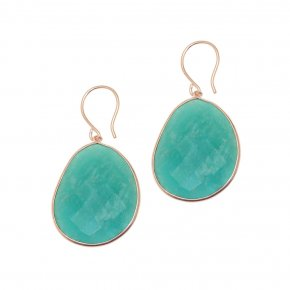 Earrings silver 925 pink gold plated & with amazonite - Petra