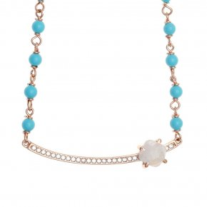 Necklace silver 925 pink gold plated & with moonstone, turqoise and white zirconia - Nymfes