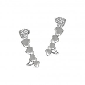 Earrings silver 925 rhodium plated & with zirconia - Emfasis