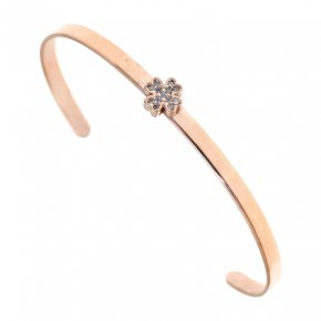 Bracelet silver 925 pink gold plated & with white zirconia - Wish Luck