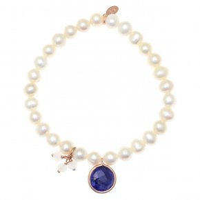Bracelet silver 925 pink gold plated & with fresh water pearls and treated sapphire - Petra