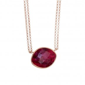Necklace silver 925 pink gold plated & with treated ruby - Petra