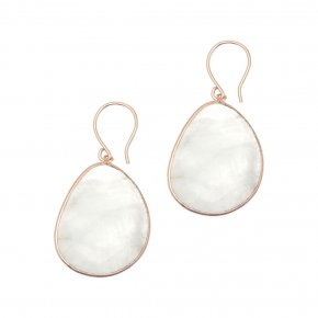 Earrings silver 925 pink gold plated & with moonstone - Petra