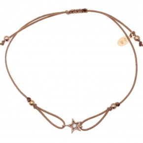 Bracelet silver 925 rose gold plated with white zirconia and cord - Mitos