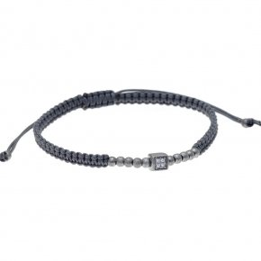 Bracelet silver 925 black rhodium plated, with white zirconia and cord - My Man
