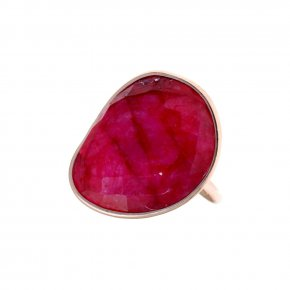 Ring silver 925 pink gold plated & with treated ruby - Petra