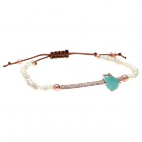 Bracelet silver 925 pink gold plated & with fresh water pearls, amazonite and white zirconia with cord - Nymfes