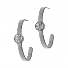 Earrings silver 925 black rhodium plated & with white zirconia - Aura