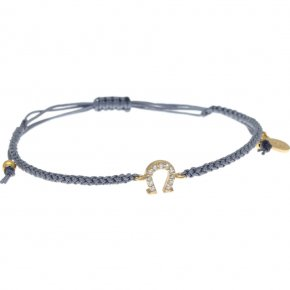 Cord Bracelet in silver 925 gold plated with white zirconia - Sirens