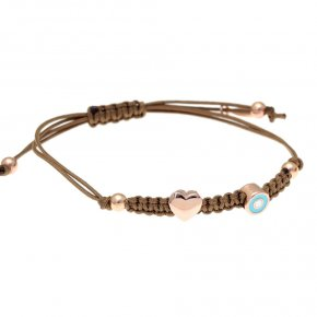 Bracelet silver 925 pink gold plated and cord - Filia
