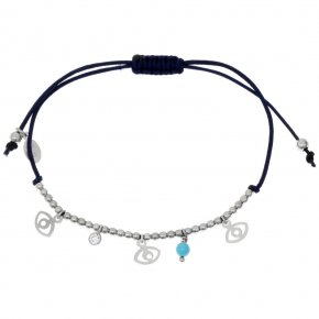Bracelet silver 925 rhodium plated & with hematite and white zirconia with cord - Symbola