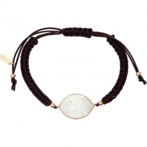 Bracelet silver 925 pink gold plated & with moonstone - Petra