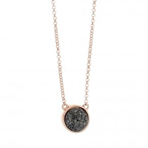 Necklace silver 925 pink gold plated & with agate - Enigma