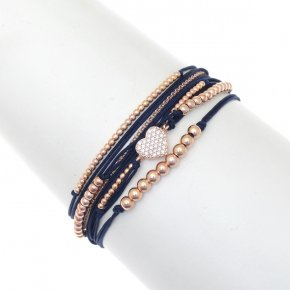 Bracelet silver 925 pink gold plated with synth.stones and cord - Aegis