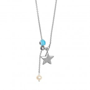 Necklace silver 925 rhodium plated & with fresh water pearl and evil eye - Sirens