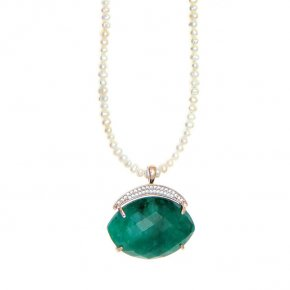 Necklace silver 925 pink gold plated & with fresh water pearl, treated emerald and white zirconia - Nymfes