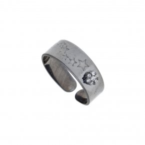 Ring silver 925 black rhodium plate with synthetic stones - Mageia