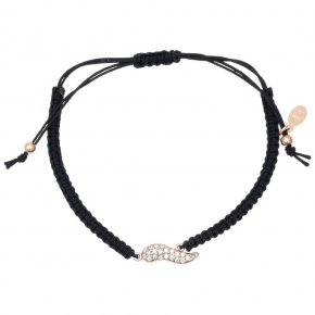 Bracelet silver 925 pink gold plated & with zirconia with cord - Onar