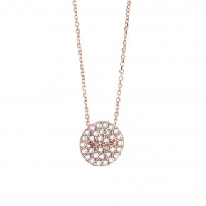 Necklace silver 925 pink gold plated & with white zirconia - LAMPSIS