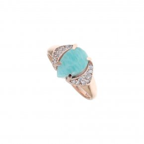Ring silver 925 pink gold plated & with amazonite and white zirconia - Nymfes