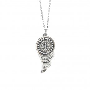 Necklace silver 925 rhodium plated & with white zirconia - Apocalypse