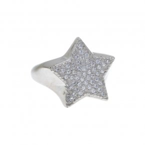 Ring silver 925 rhodium plated & with white zirconia - WANNA GLOW
