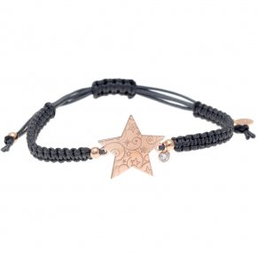 Bracelet silver 925 pink gold plated with synth.stones and cord - Amvrosia