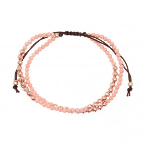 Bracelet silver 925 pink gold plated & with pink coral with cord - aperitto
