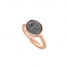 Ring silver 925 pink gold plated & with agate - Enigma