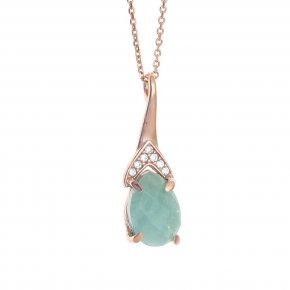 Necklace silver 925 pink gold plated with synthetic stones - Nymfes