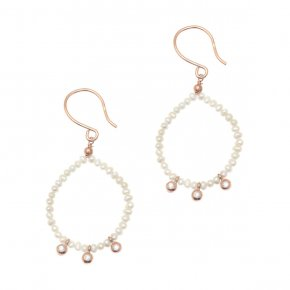 Earrings silver 925 pink gold plated & with fresh water pearl and white zirconia - Amalthia