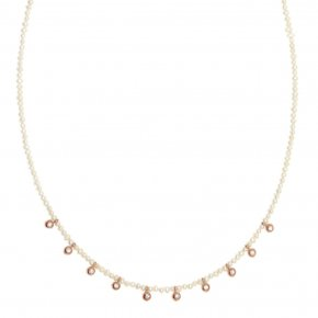 Necklace silver 925 pink gold plated & with fresh water pearl and white zirconia - Amalthia