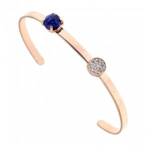 Bracelet silver 925 pink gold plated & with sapphire and white zirconia - Aura