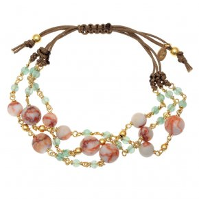 Bracelet silver 925 gold plated & with colored stones and crystals with cord - Chroma