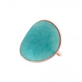 Ring silver 925 pink gold plated & with amazonite - Petra