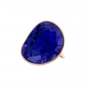 Ring silver 925 pink gold plated & with treated sapphire - Petra
