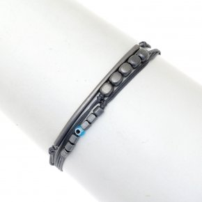 Bracelet silver 925 black rhodium plated & with evil eye - My Man
