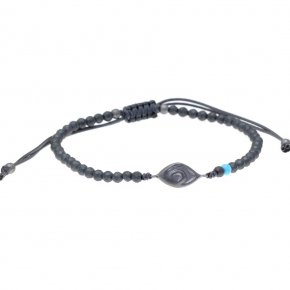 Bracelet silver 925 black rhodium plated & with hematite with cord - My Man