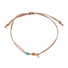 Bracelet silver 925 gold plated & with enamel, evil eye and white zircon with cord - Wish Luck