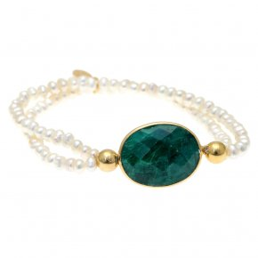 Bracelet silver 925 gold plated & with fresh water pearls and treated emerald - Petra