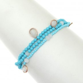 Bracelet silver 925 pink gold plated & with turqoise and moonstone with cord - Petra