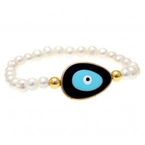 Bracelet silver 925 gold plated & with enamel evil eye - Mati