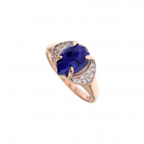 Ring silver 925 pink gold plated & with treated sapphire and white zirconia - Nymfes