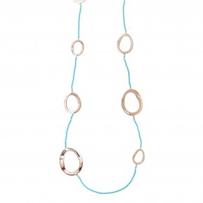 Necklace metal pink gold plated & with turqoise - Armonia