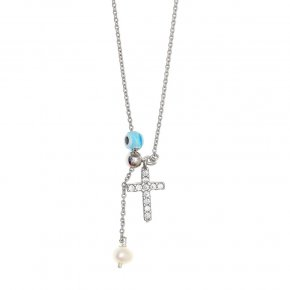 Necklace silver 925 rhodium plated & with fresh water pearl, white zirconia and evil eye - Sirens