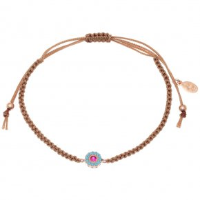 Bracelet silver 925 pink gold plated & with colored zirconia with cord - Helios