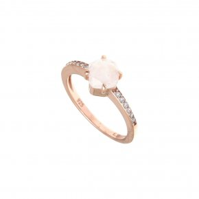 Ring silver 925 pink gold plated with gems and synth.stones - Nymfes