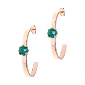 Earrings silver 925 pink gold plated & with treated emerald - Aura