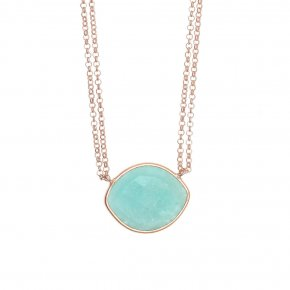 Necklace silver 925 pink gold plated & with amazonite - Petra