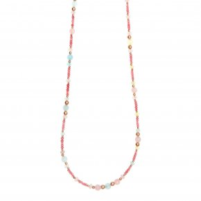 Necklace silver 925 pink gold plated & with colored stones and crystals - Chroma